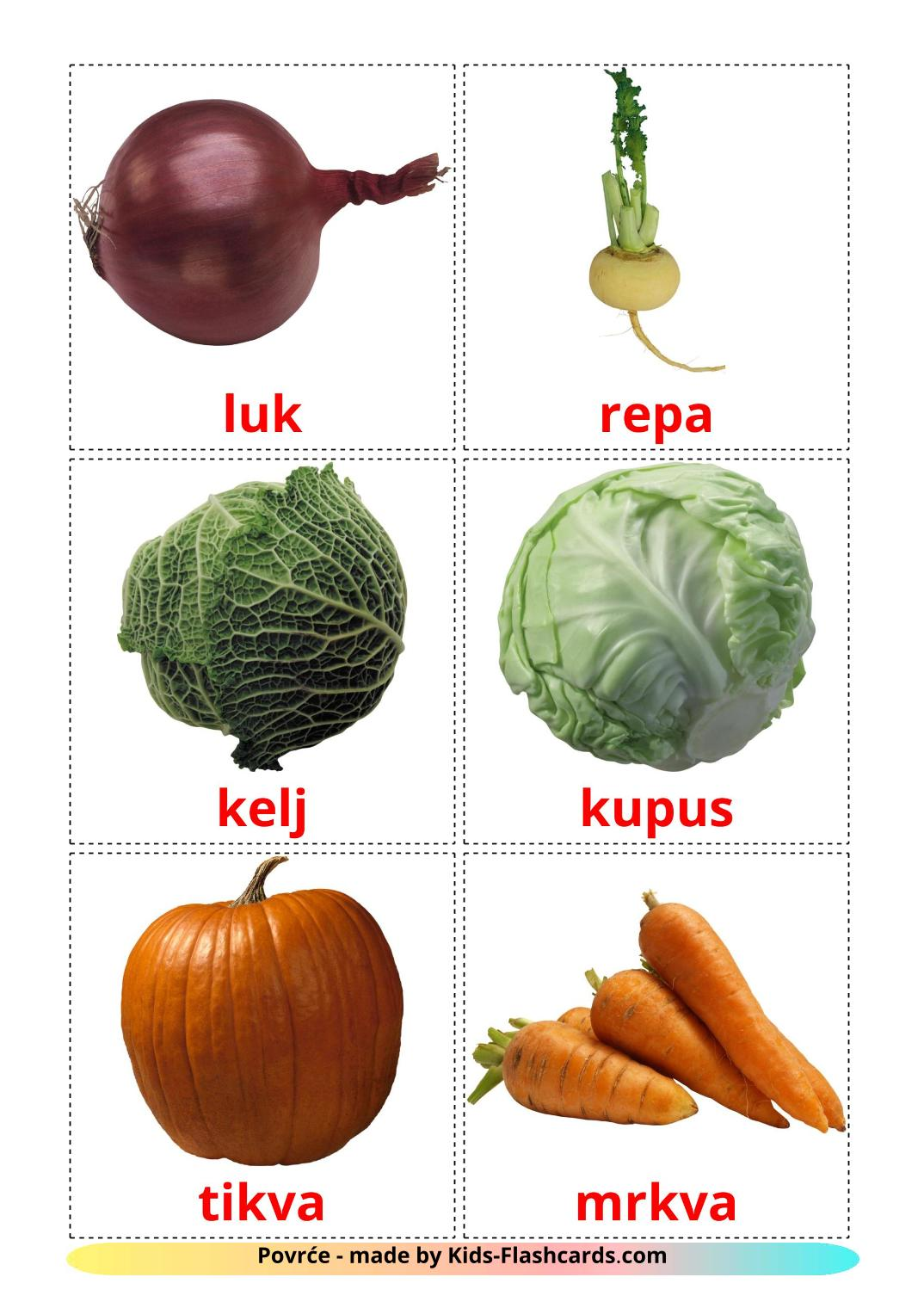 Vegetables - 29 Free Printable bosnian Flashcards
