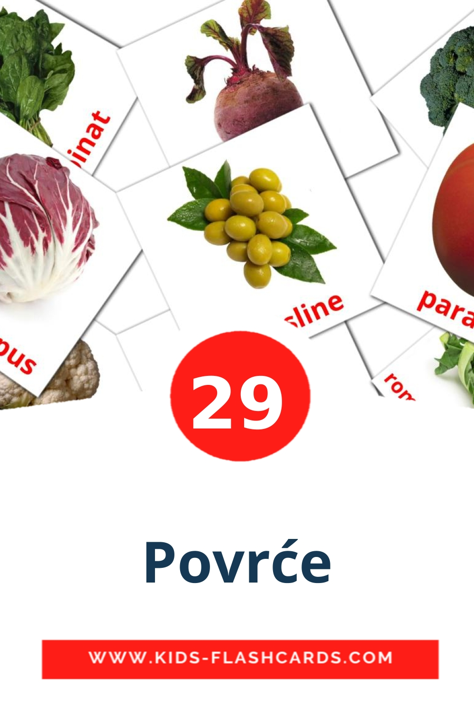 29 Povrće Picture Cards for Kindergarden in bosnian