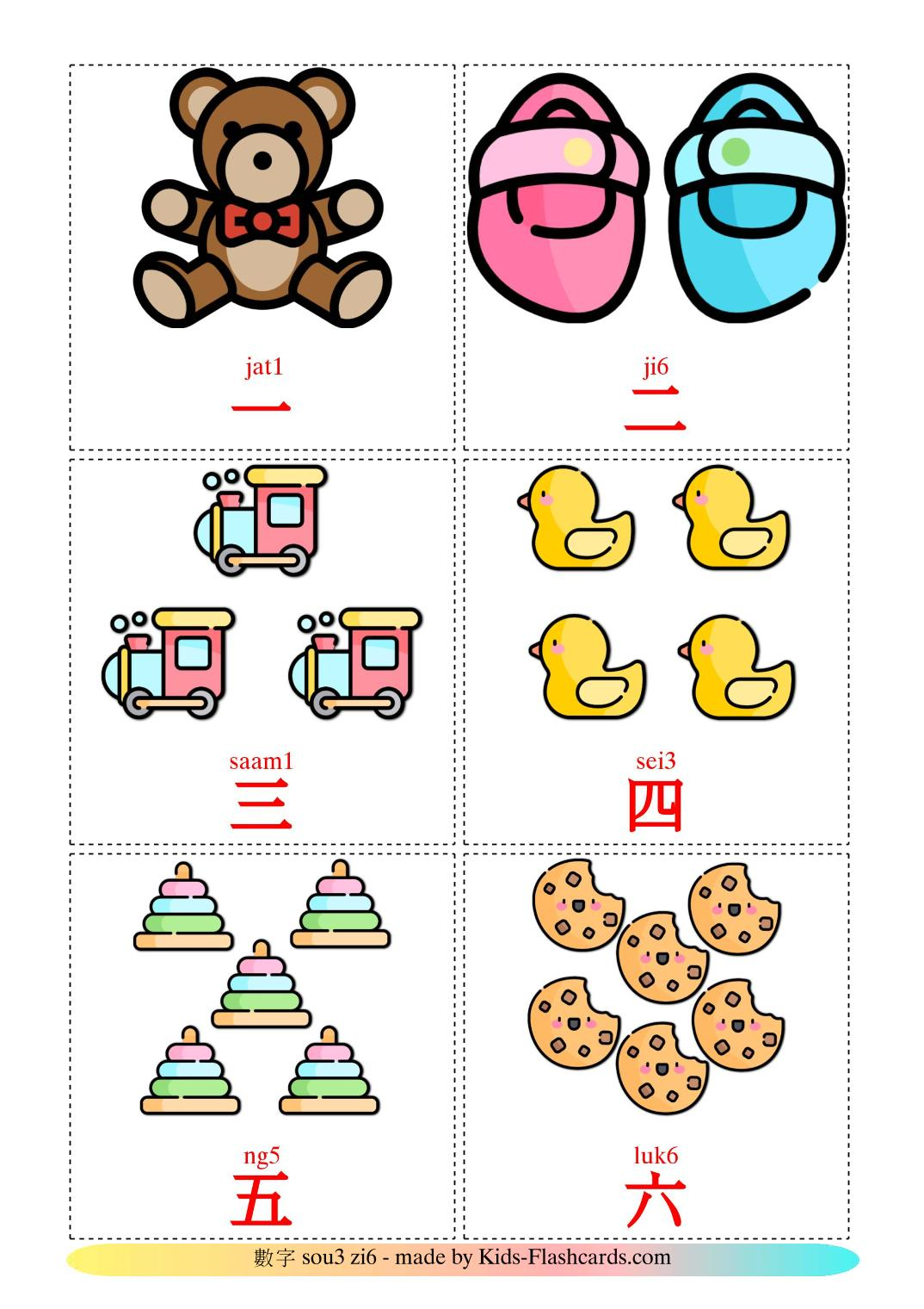 Counting - 10 Free Printable cantonese(Colloquial) Flashcards