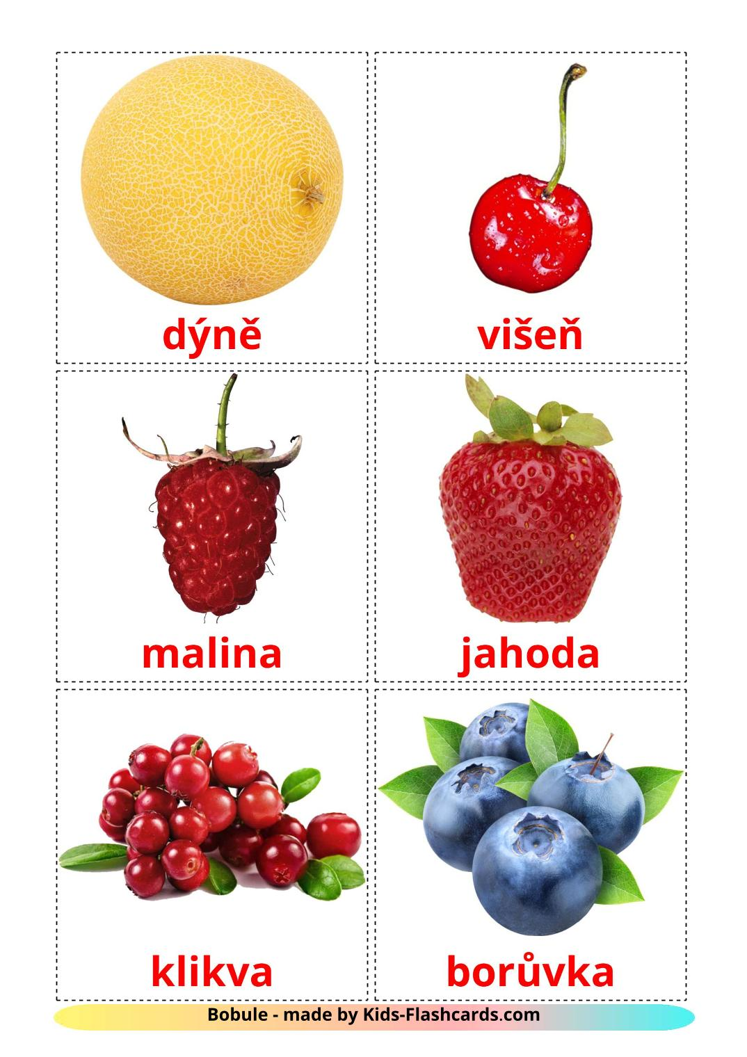 Berries - 11 Free Printable czech Flashcards