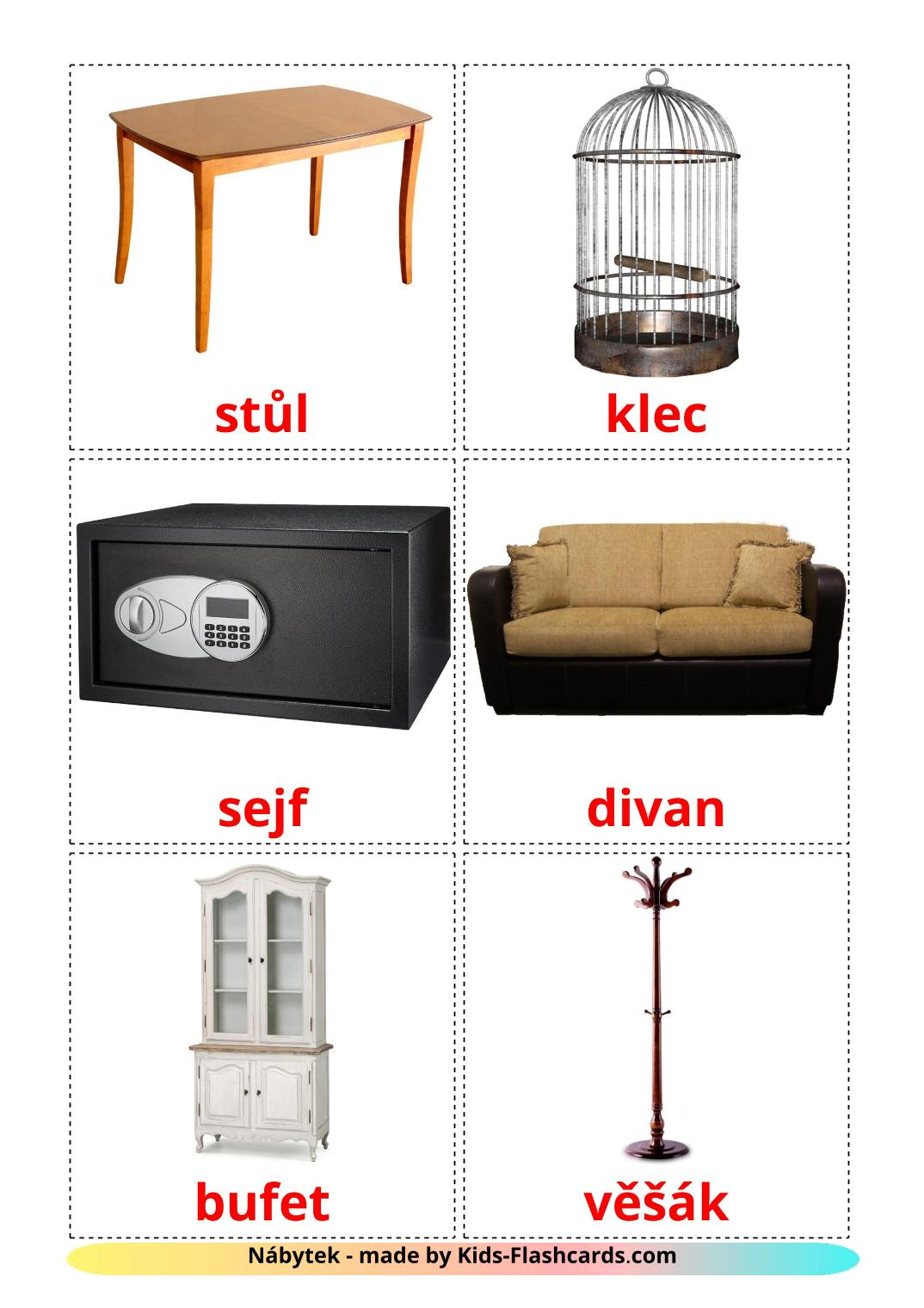 Furniture - 31 Free Printable czech Flashcards