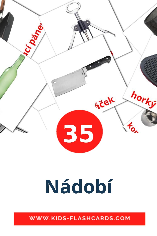 35 Nádobí Picture Cards for Kindergarden in czech