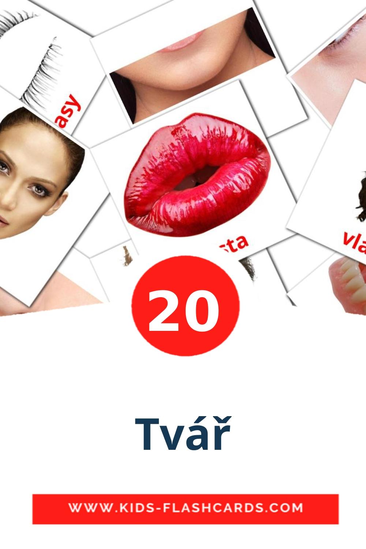 20 Tvář Picture Cards for Kindergarden in czech