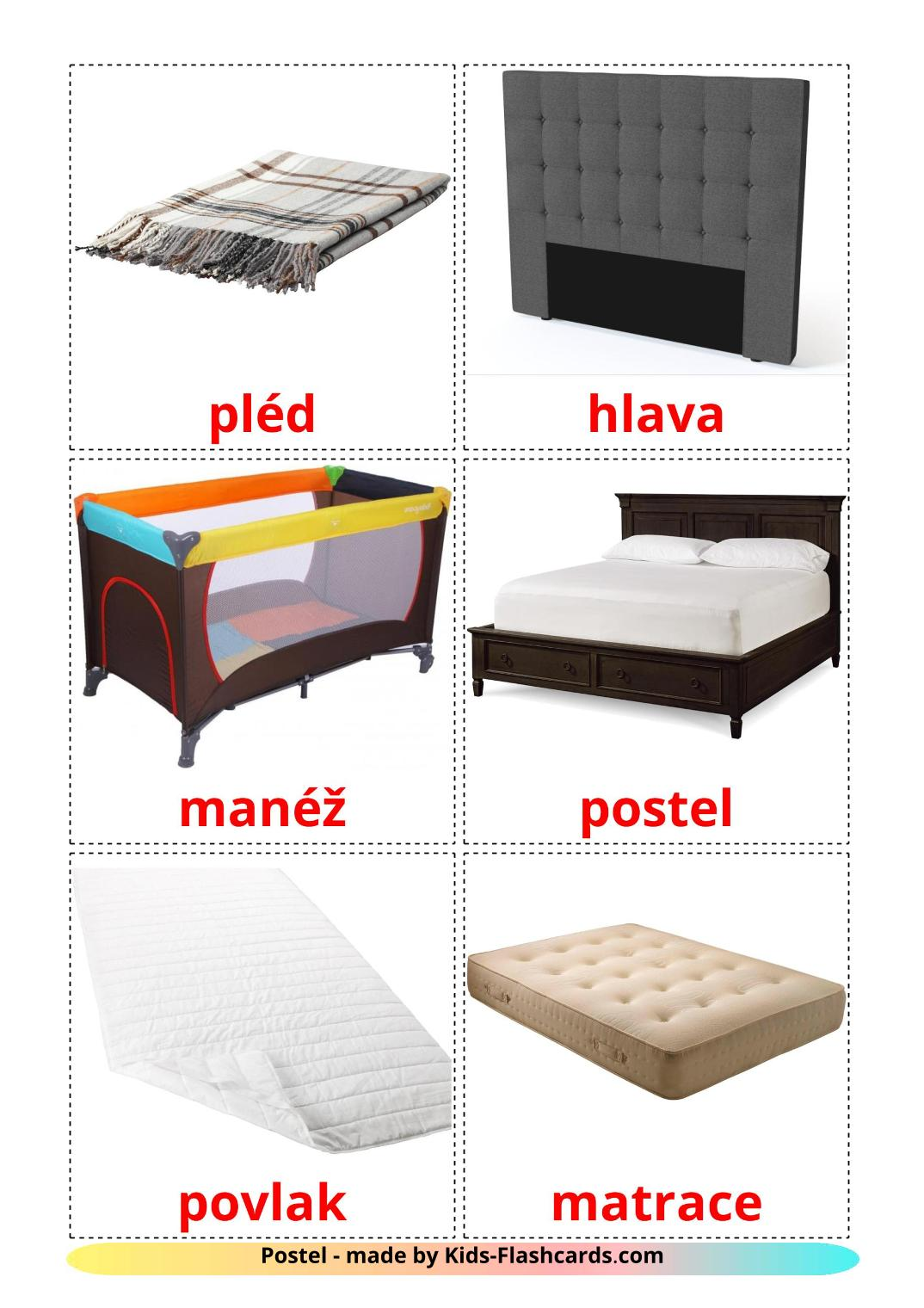 Bed - 15 Free Printable czech Flashcards