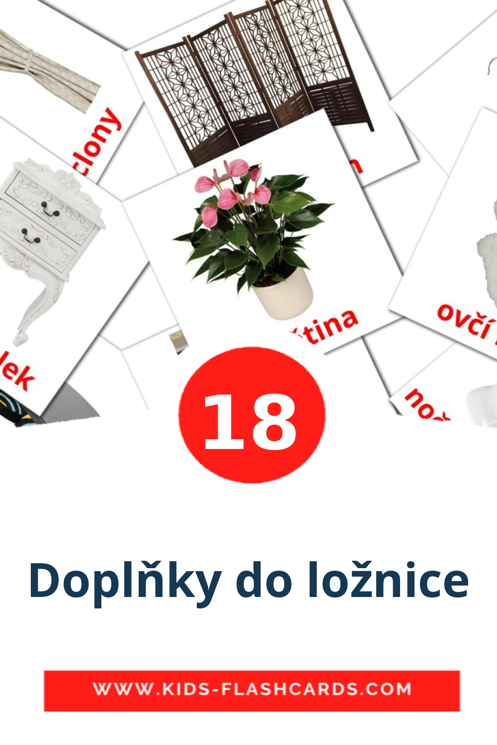 18 Doplňky do ložnice Picture Cards for Kindergarden in czech
