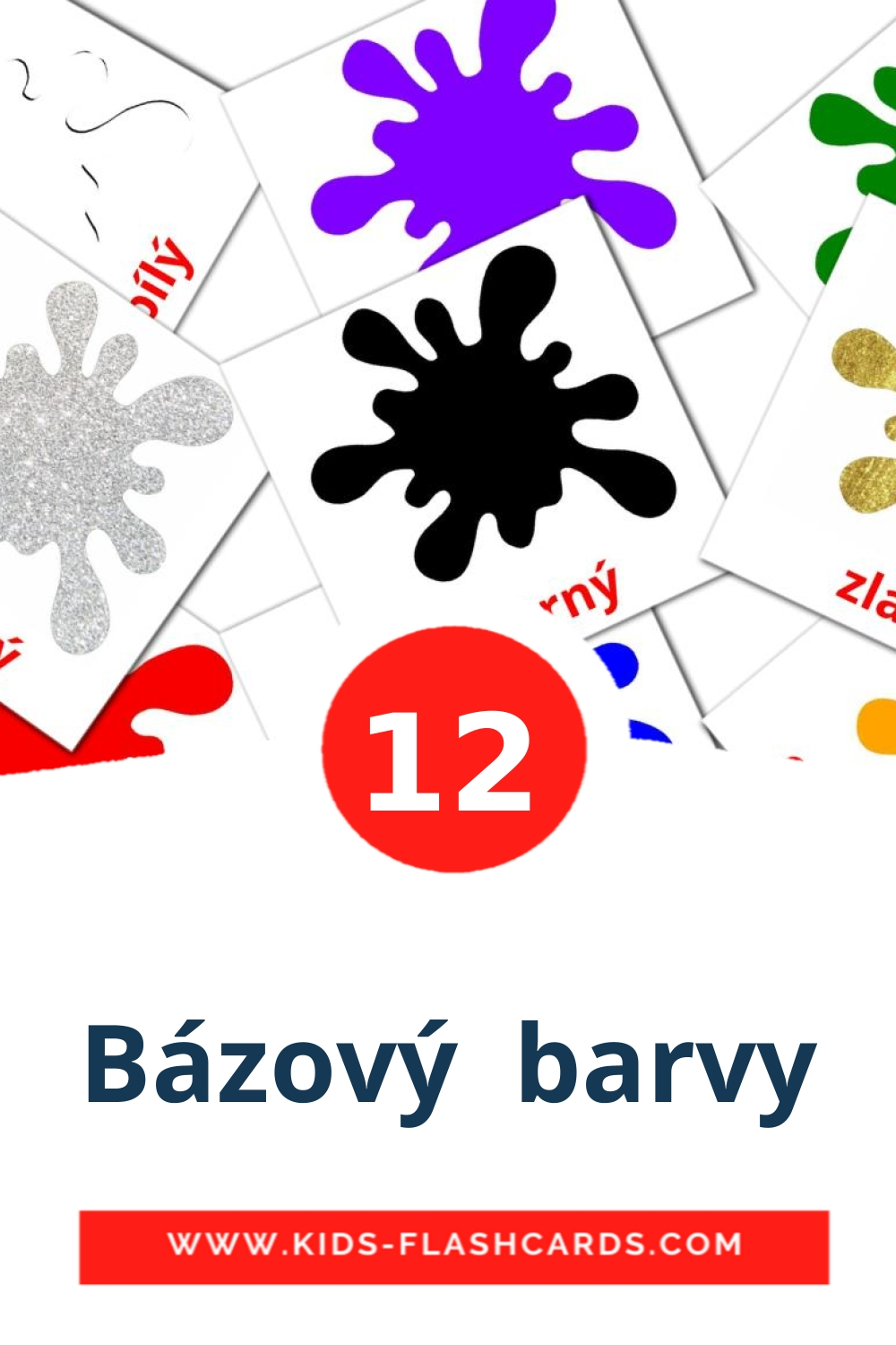 12 Bázový  barvy Picture Cards for Kindergarden in czech