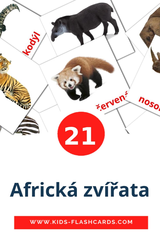 21 Africká zvířata Picture Cards for Kindergarden in czech