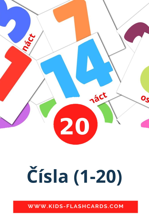20 Čísla (1-20) Picture Cards for Kindergarden in czech