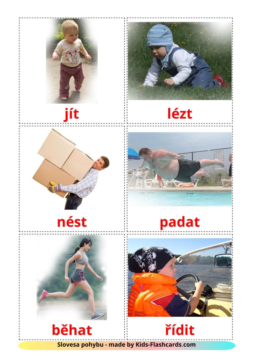 Movement verbs - 22 Free Printable czech Flashcards