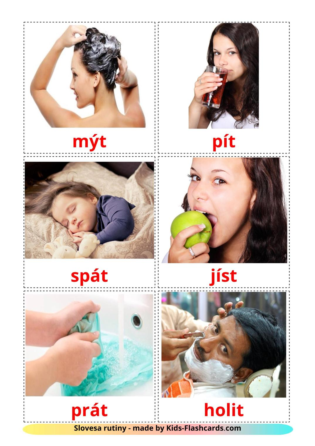 Routine verbs - 33 Free Printable czech Flashcards