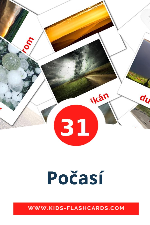 31 Počasí Picture Cards for Kindergarden in czech