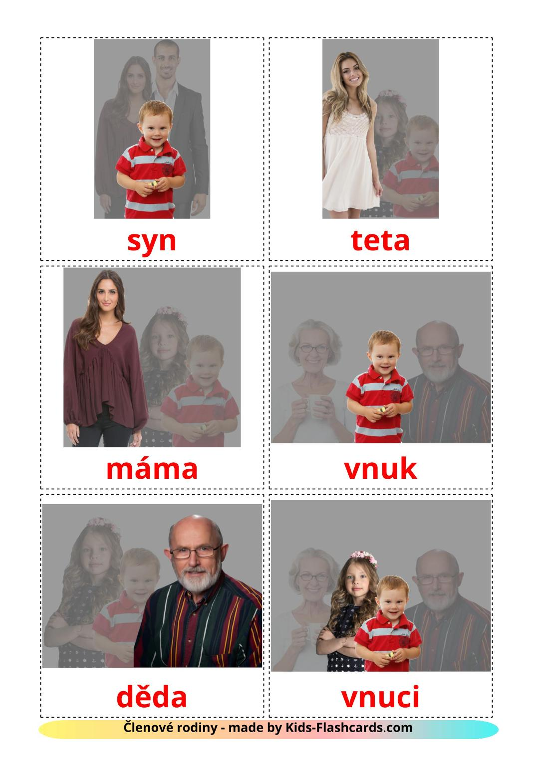 Family members - 32 Free Printable czech Flashcards