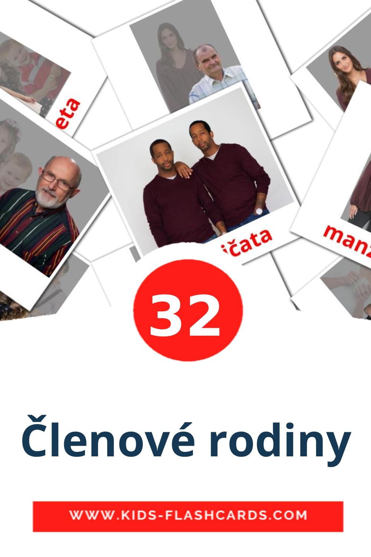 32 Členové rodiny Picture Cards for Kindergarden in czech