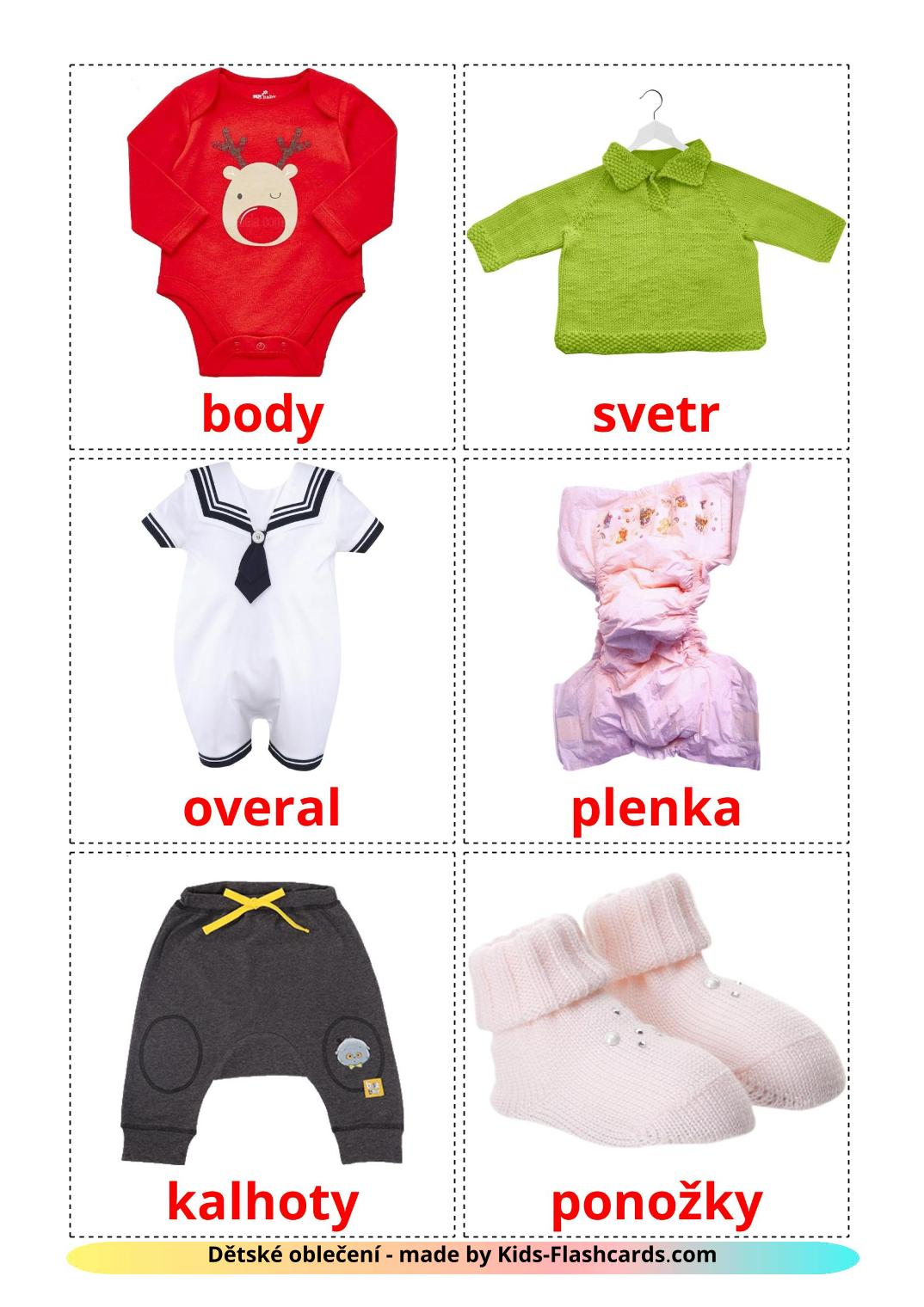 Baby clothes - 12 Free Printable czech Flashcards