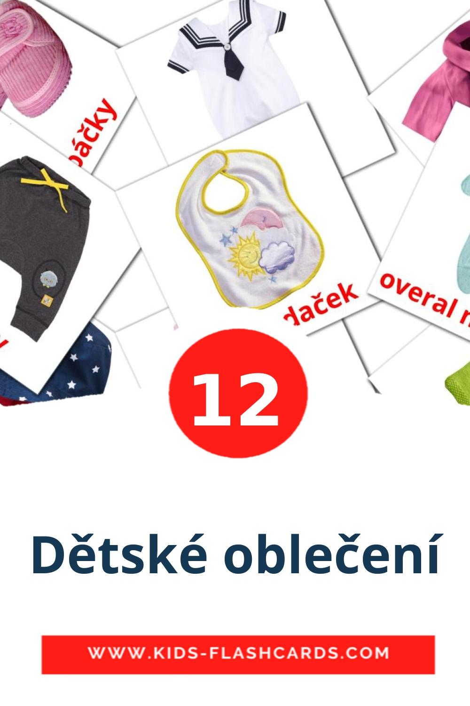 12 Dětské oblečení Picture Cards for Kindergarden in czech