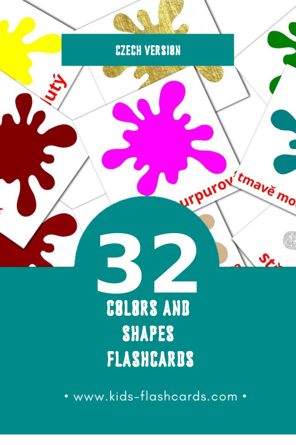 Visual barva a forma Flashcards for Toddlers (32 cards in Czech)