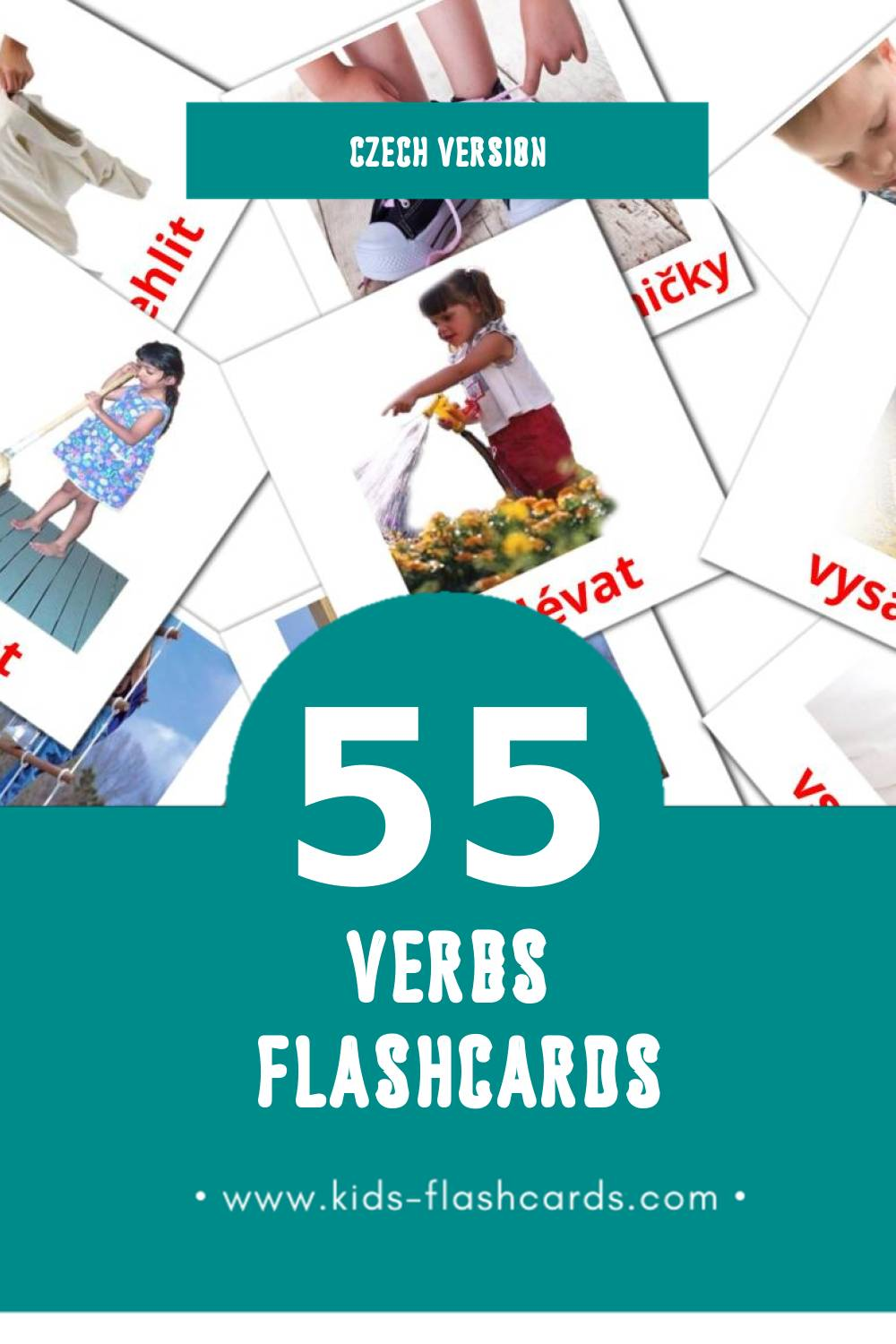 Visual slovesa Flashcards for Toddlers (55 cards in Czech)