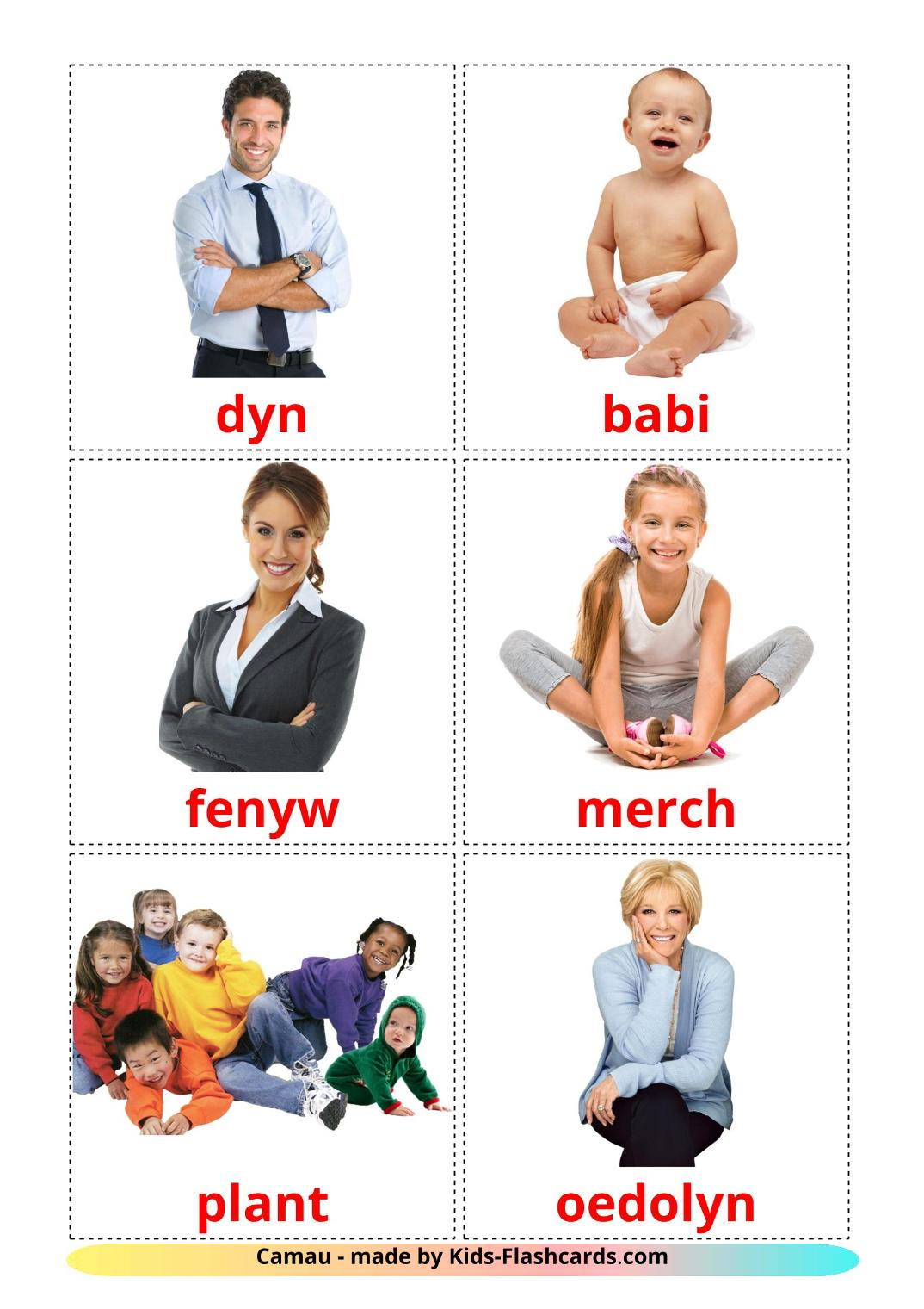 Stages - 12 Free Printable welsh Flashcards