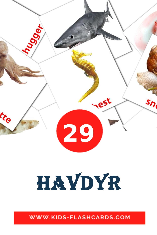 29 Havdyr Picture Cards for Kindergarden in dansk