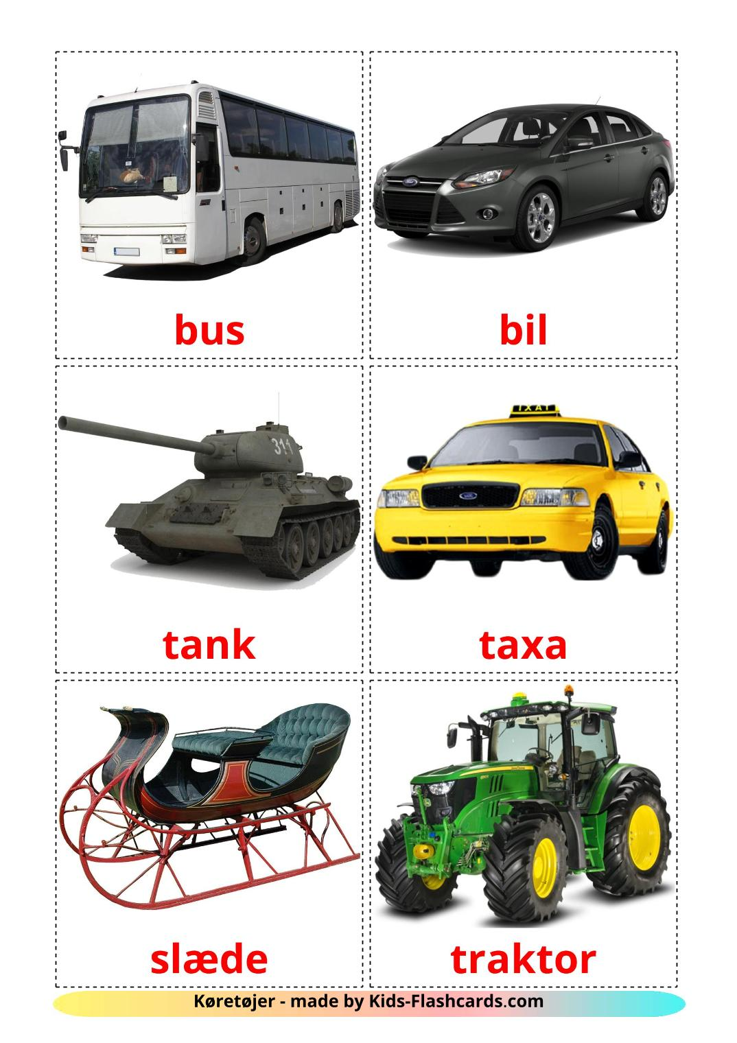 Land transport - 28 Free Printable dansk Flashcards