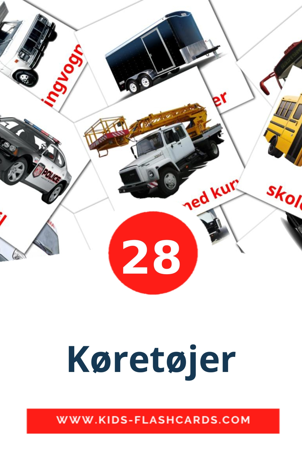 28 Køretøjer Picture Cards for Kindergarden in dansk