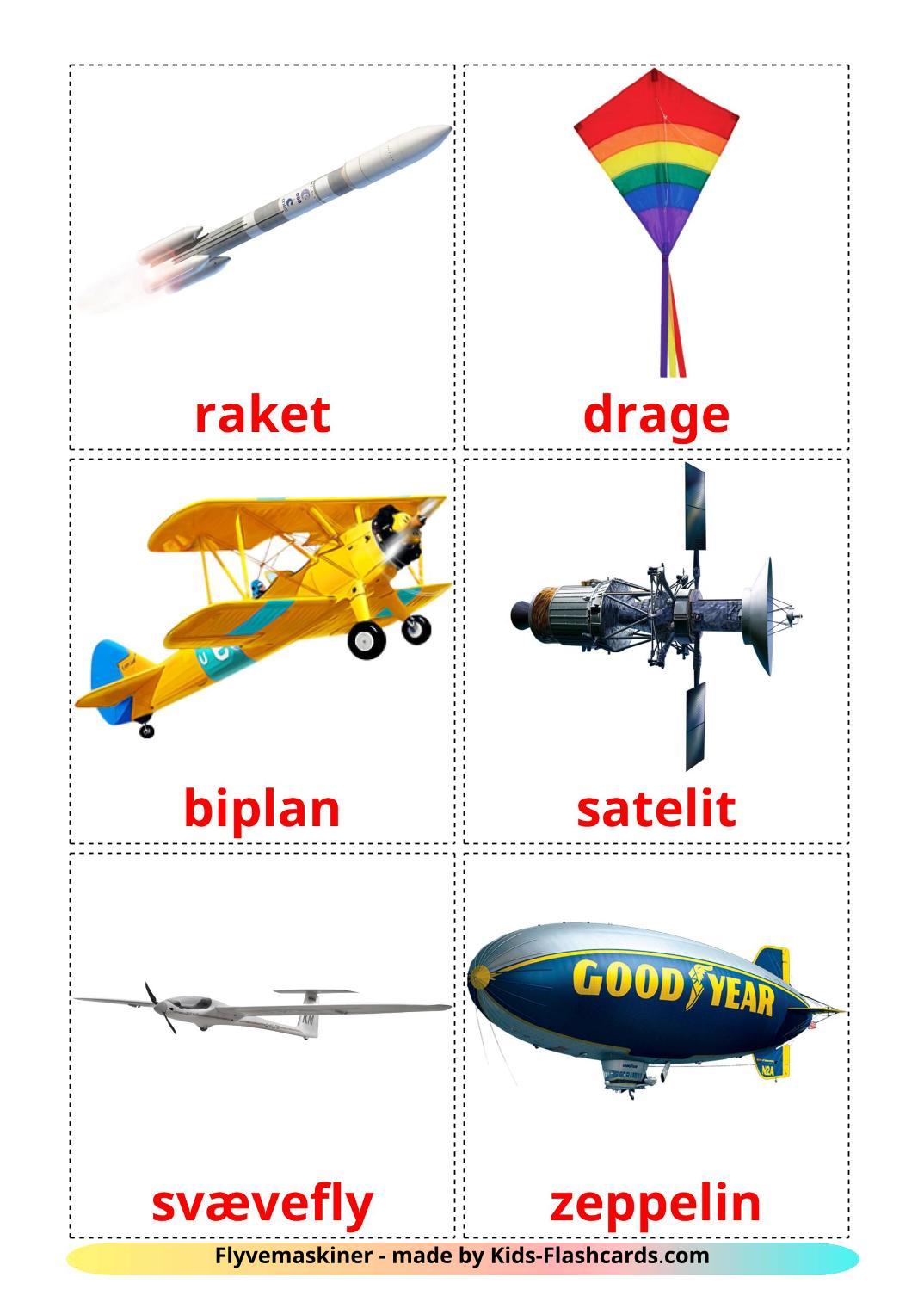 Aircraft - 14 Free Printable dansk Flashcards