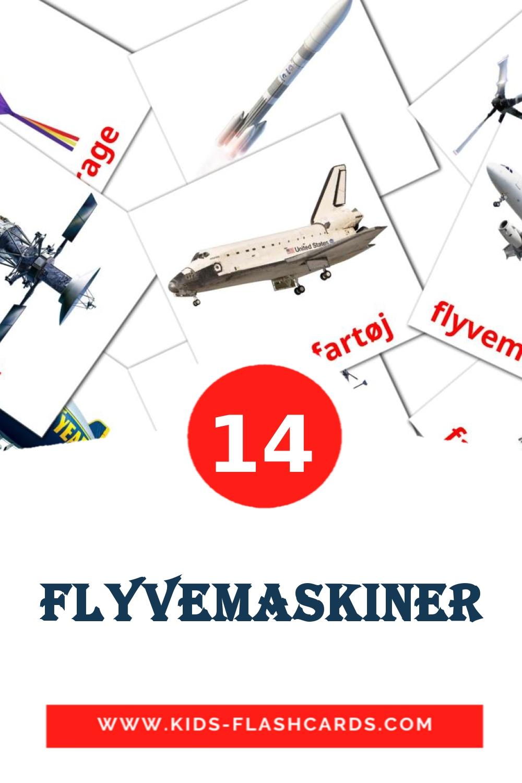 14 Flyvemaskiner Picture Cards for Kindergarden in dansk