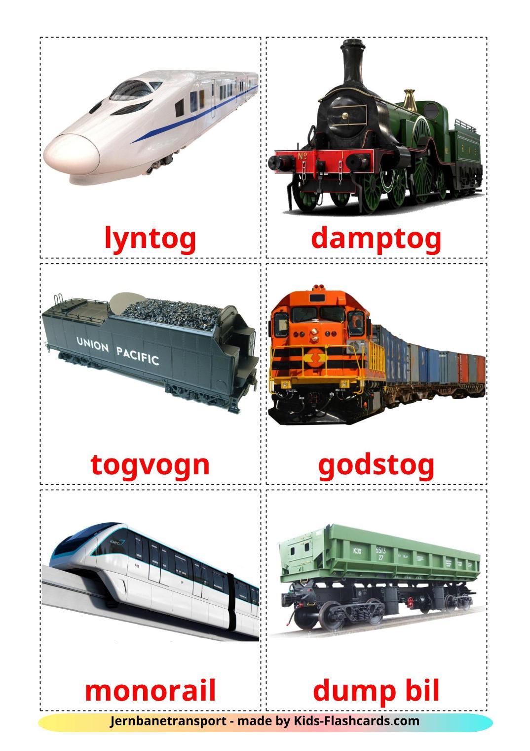 Rail transport - 18 Free Printable dansk Flashcards
