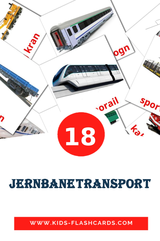 18 Jernbanetransport Picture Cards for Kindergarden in dansk