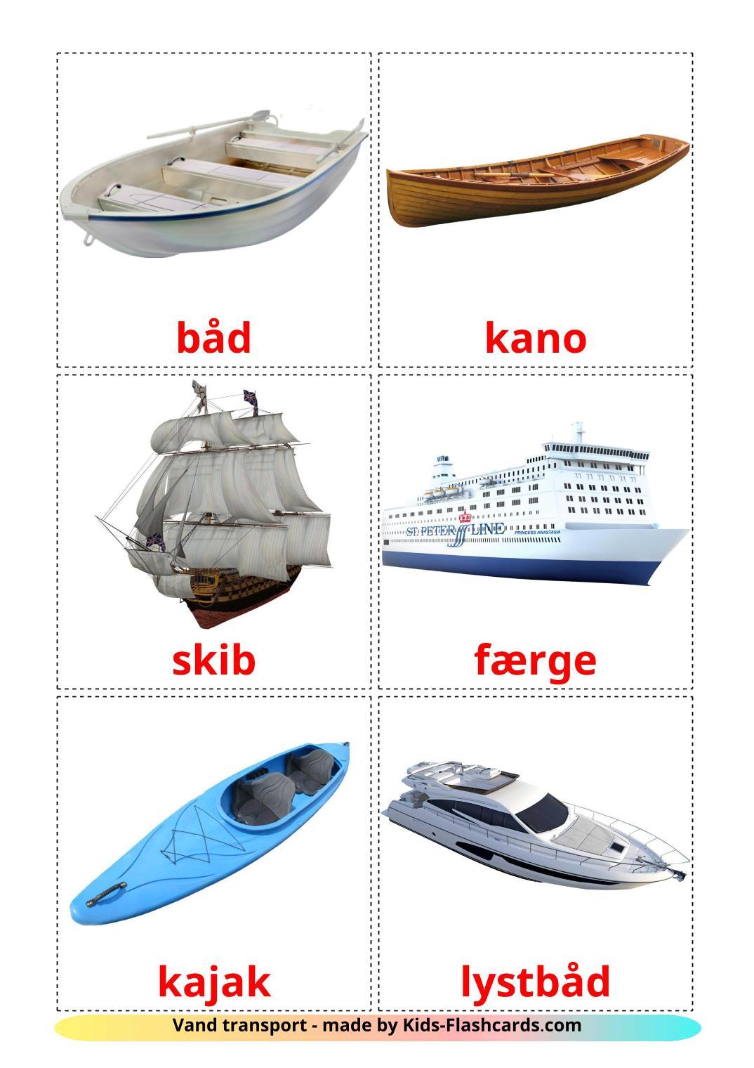 Water transport - 18 Free Printable dansk Flashcards