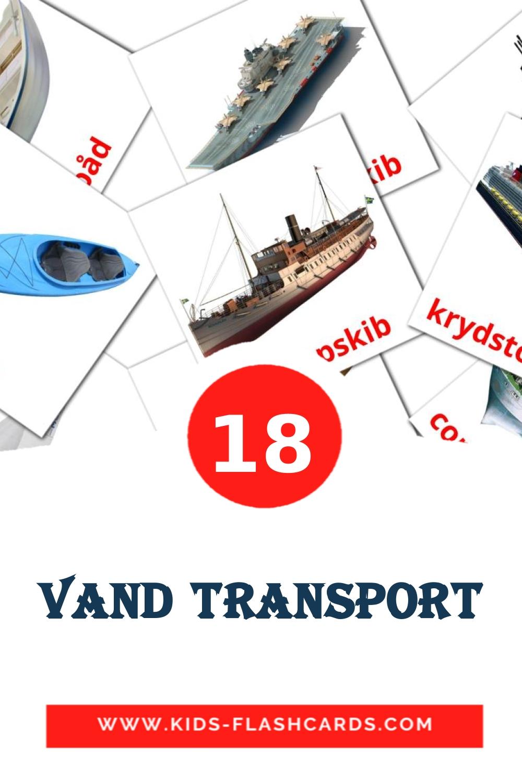 18 Vand transport Picture Cards for Kindergarden in dansk