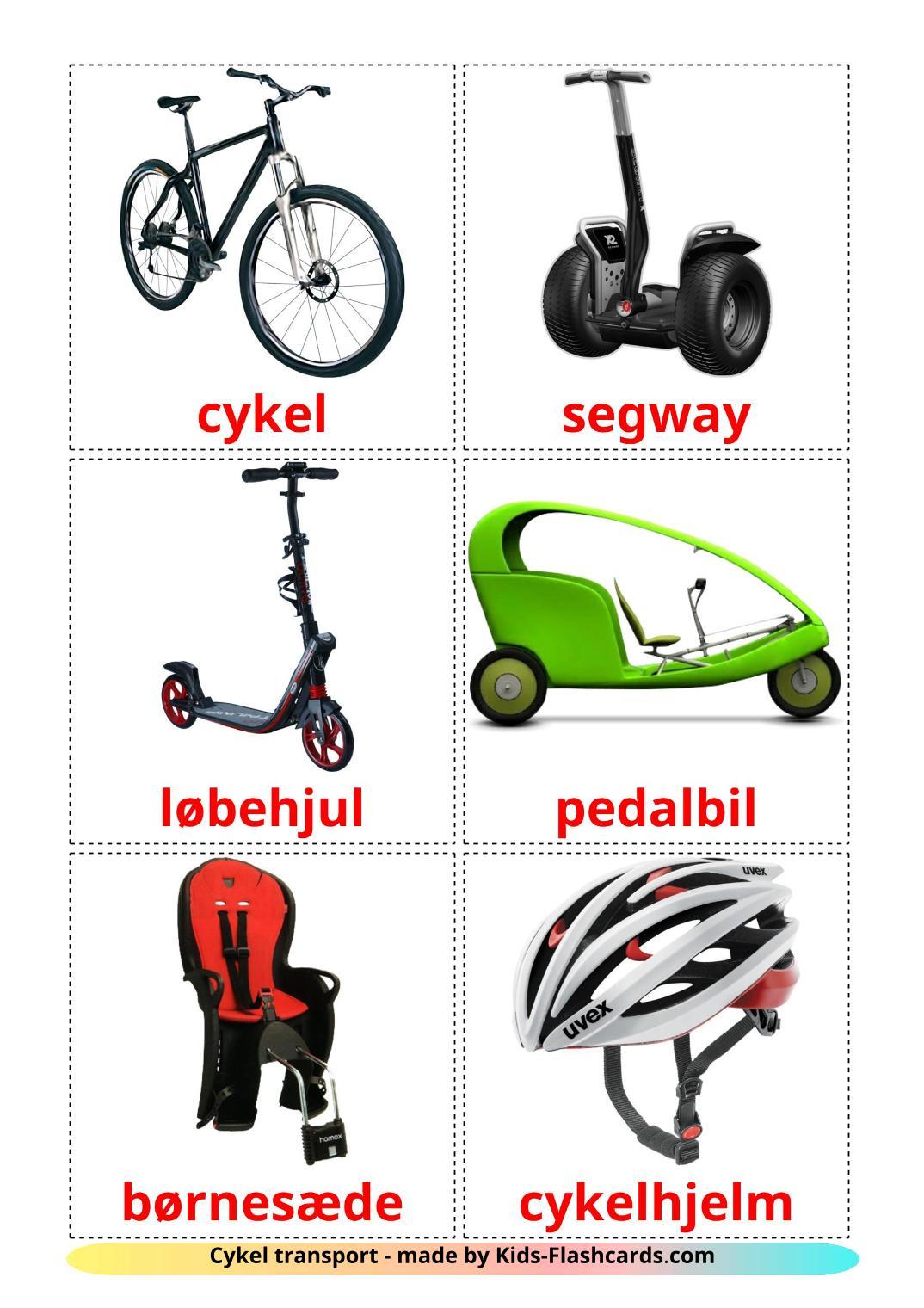 Bicycle transport - 16 Free Printable dansk Flashcards