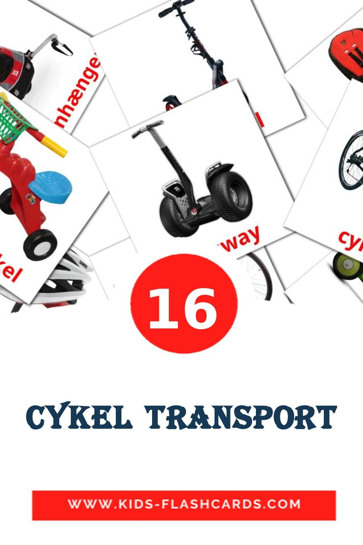 16 Cykel transport Picture Cards for Kindergarden in dansk