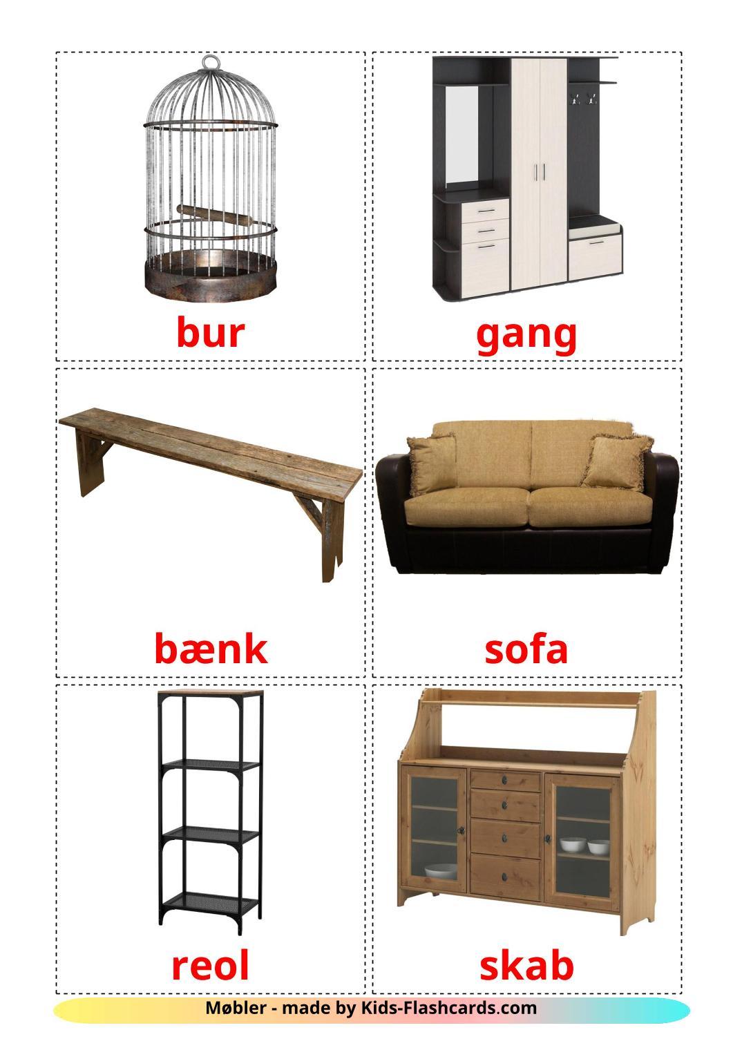 Furniture - 31 Free Printable dansk Flashcards