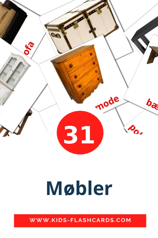 31 Møbler Picture Cards for Kindergarden in dansk