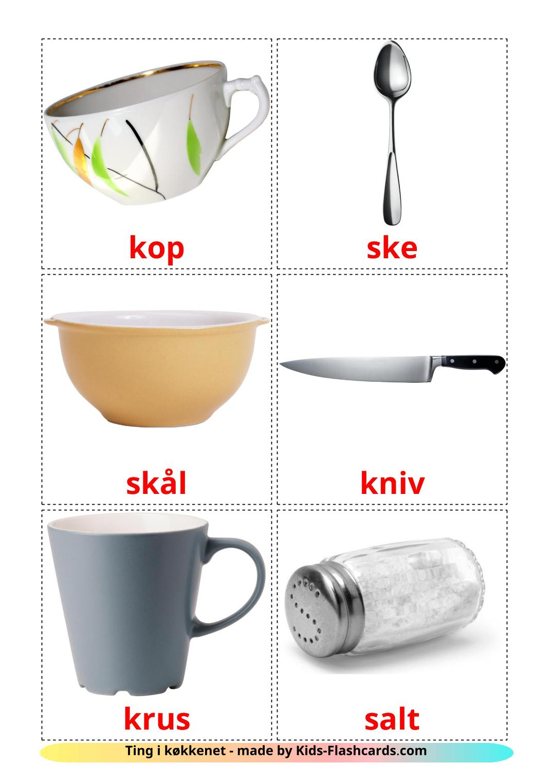 Crockery and cutlery - 29 Free Printable dansk Flashcards