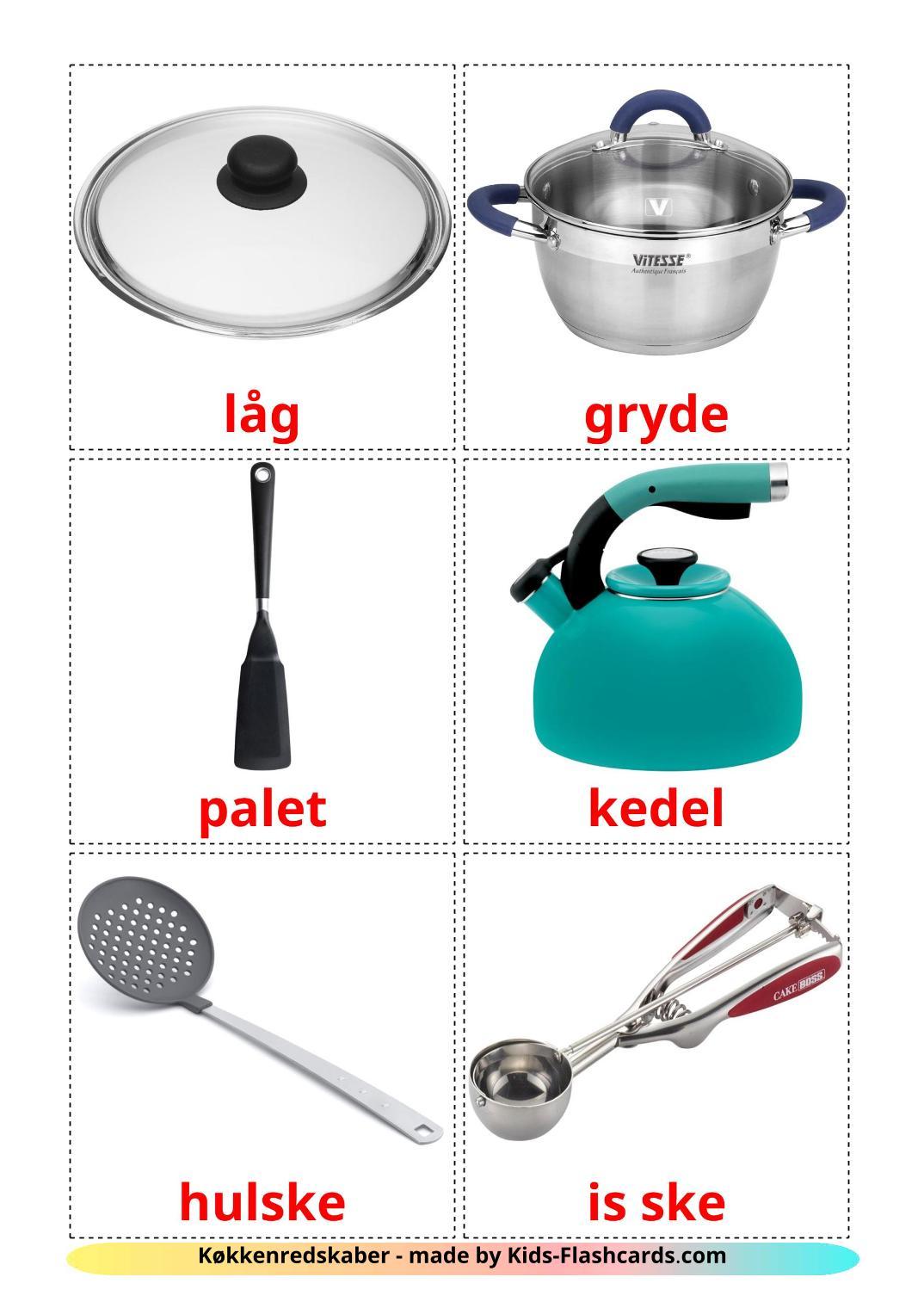 Kitchenware - 35 Free Printable dansk Flashcards