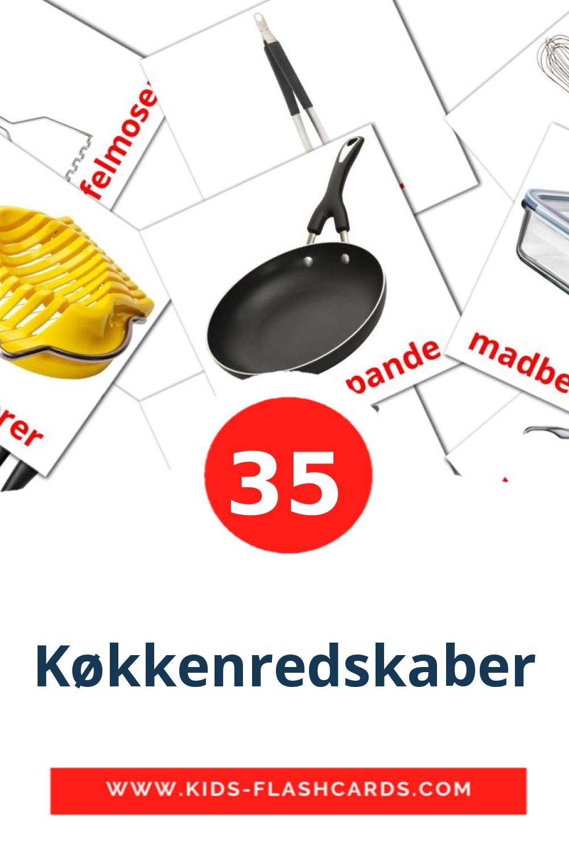 35 Køkkenredskaber Picture Cards for Kindergarden in dansk