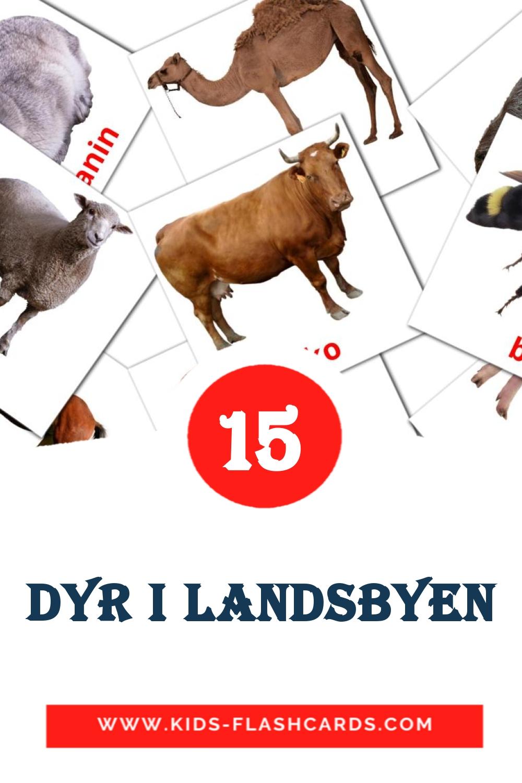 15 Dyr i landsbyen Picture Cards for Kindergarden in dansk
