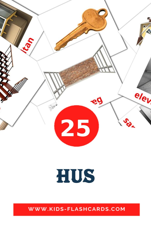 25 Hus Picture Cards for Kindergarden in dansk