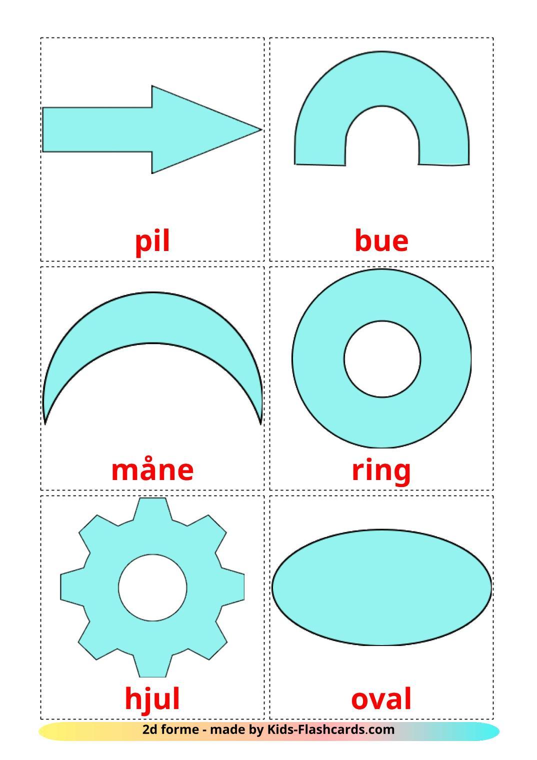 2D Shapes - 35 Free Printable dansk Flashcards