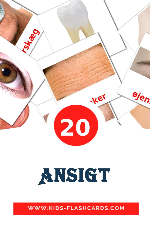 20 Ansigt Picture Cards for Kindergarden in dansk