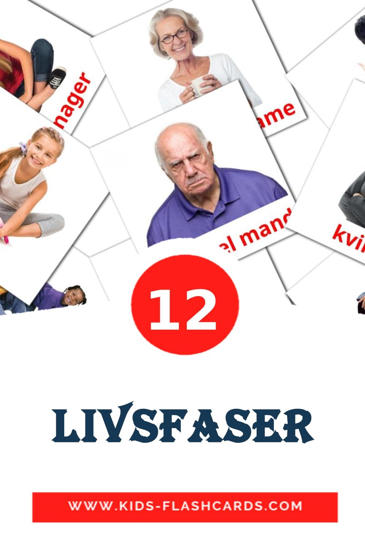 12 Livsfaser Picture Cards for Kindergarden in dansk