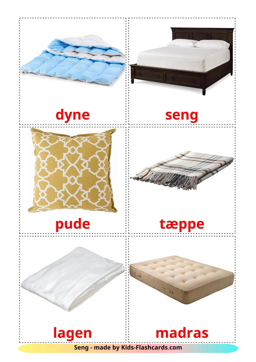 Bed - 15 Free Printable dansk Flashcards