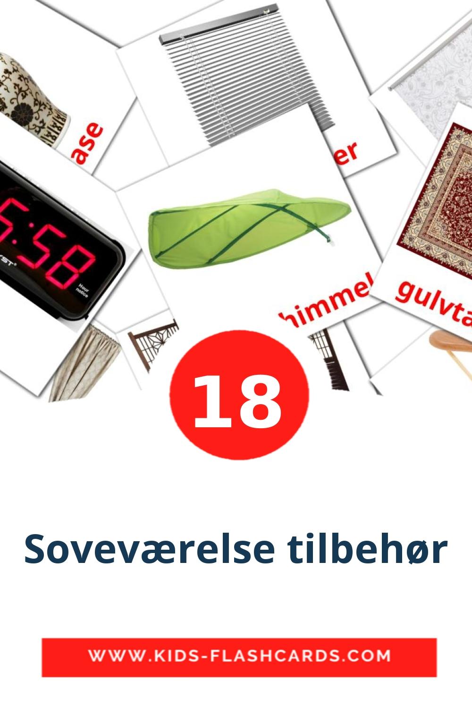 18 Soveværelse tilbehør Picture Cards for Kindergarden in dansk