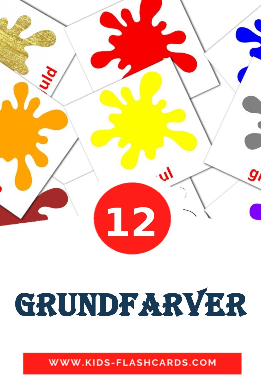 12 Grundfarver Picture Cards for Kindergarden in dansk