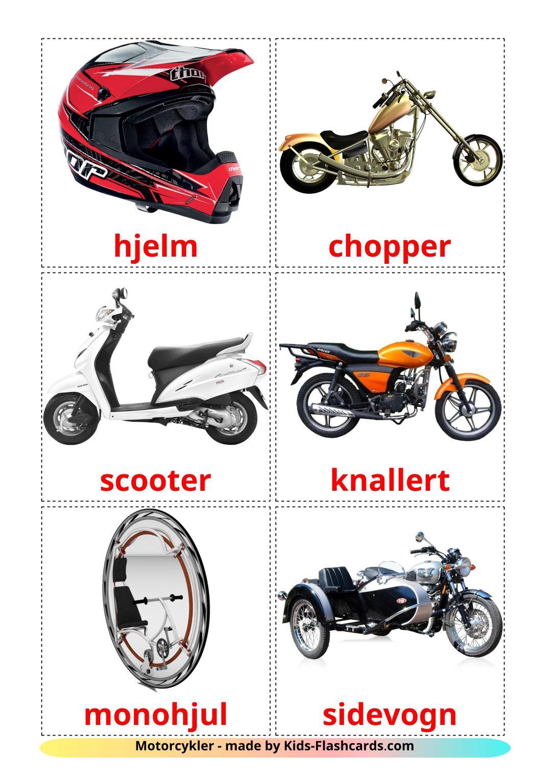 Motorcycles - 14 Free Printable dansk Flashcards