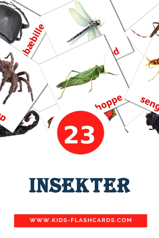 23 Insekter Picture Cards for Kindergarden in dansk