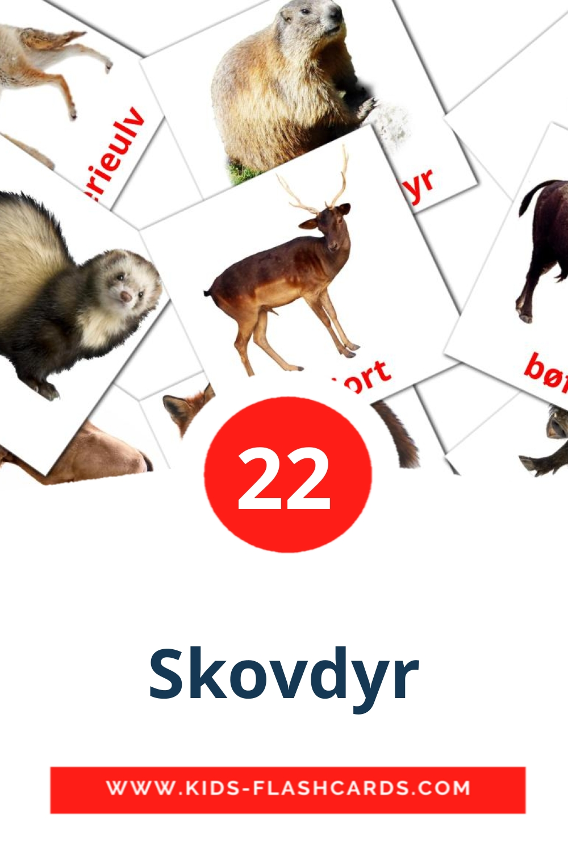 22 Skovdyr Picture Cards for Kindergarden in dansk