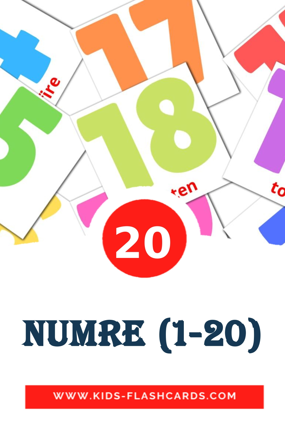 20 Numre (1-20) Picture Cards for Kindergarden in dansk